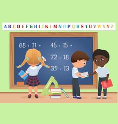 kids pupils in classroom near school board vector image