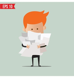 Business man with paper stuff - - eps10 vector