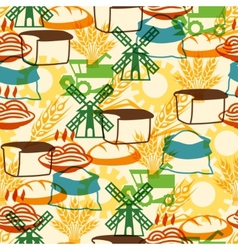 Seamless pattern with agricultural objects vector