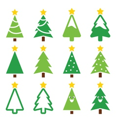 Christmas green tree with star icons set vector image