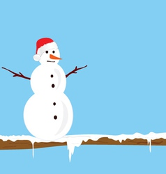 Snowman on the branch color illlustration vector