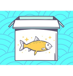 Open box with icon of fish on blue patte vector