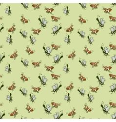 Fun decorative background of bees and ladybugs vector