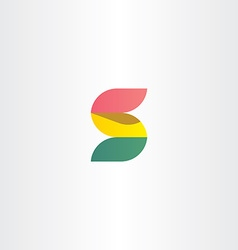 Letter s logo red green and yellow ribbon vector