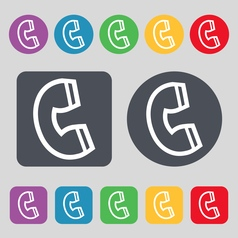 Handset icon sign a set of 12 colored buttons flat vector