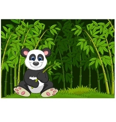 Cartoon panda in the jungle bamboo vector