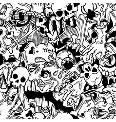 Seamless halloween pattern with horror elements vector
