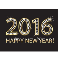 2016 happy new year in gold and diamonds vector image