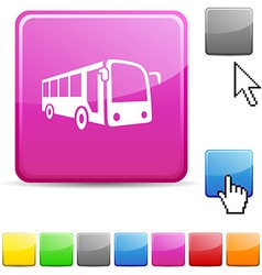 Bus glossy button vector