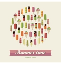 Summer card ice cream vector