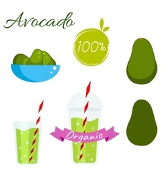 Avocado fruit and juice set vector