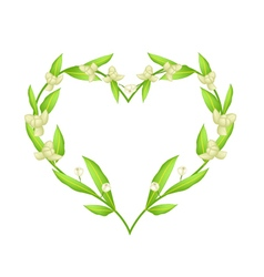 Ylang ylang flowers in a heart shape frame vector