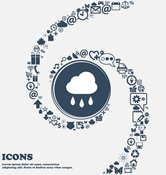 Weather rain icon sign in the center around the vector