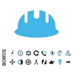 Builder hardhat flat icon with bonus vector