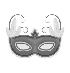 Brazilian carnival mask icon in monochrome style vector