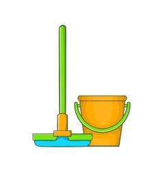 Bucket with mop icon cartoon style vector
