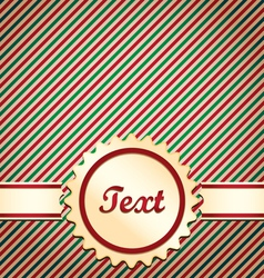 Christmas red and green striped card vector image vector image