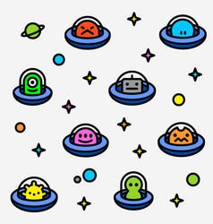 colorful ufo aliens cartoon pattern vector image