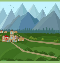 downtown houses and mountains view vector image
