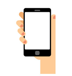 empty smartphone screen hand holds the smartphone vector image vector image