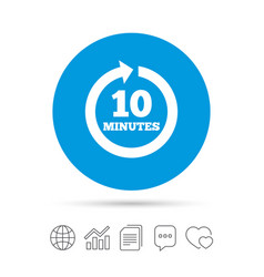every 10 minutes sign icon full rotation arrow vector image vector image