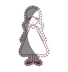 Figure happy beautiful girl with dress vector