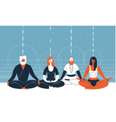 four people sit with closed eyes and crossed legs vector image