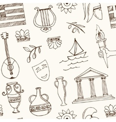 Hand drawn greece travel seamless pattern vector image vector image