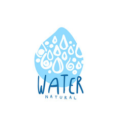 Hand drawn signs of pure water drop shape logo vector