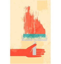 hand with roller brush retro poster vector image