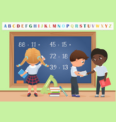 kids pupils in classroom near school board vector image vector image