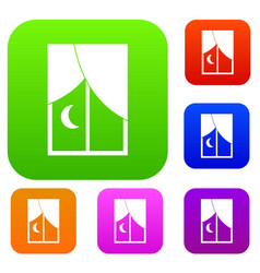 Nightly window set color collection vector