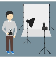 Photography Studio with a Light Set Up vector image vector image