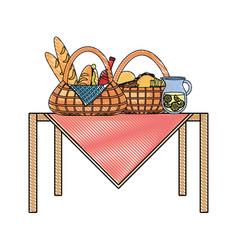 Picnic baskets vector