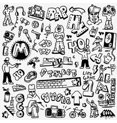 rap hip hop graffiti - doodles set vector image vector image