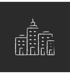 Residential buildings icon drawn in chalk vector image vector image