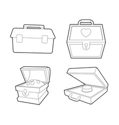 safe icon set outline style vector image