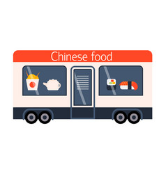 Street food festival chinese trailer vector