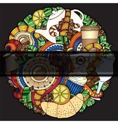 Tea coffe sweets doodle pattern invitation vector