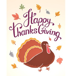 Thanksgiving with brown turkey bird and text vector