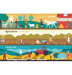 Wheat agriculture gardening flat interior outdoor vector