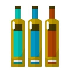 Wine bottle flat icons set vector