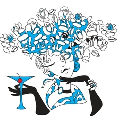 Woman silhouette with martini vector image
