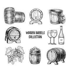 wooden wine barrel hand drawn set vector image