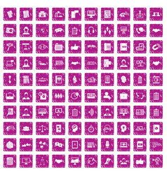 100 discussion icons set grunge pink vector