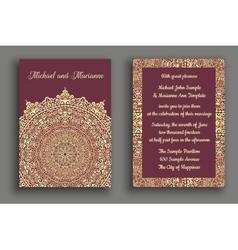 Wedding Invitation Luxury Golden Purple Ornament vector image