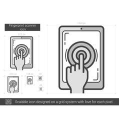 Fingerprint scanner line icon vector image