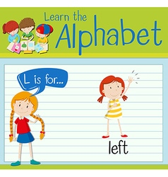 Flashcard alphabet l is for left vector