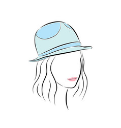 cute young girl in little blue hat vector image