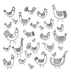 Ethnic style linear birds set vector